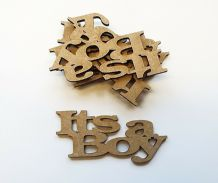 wooden craft ITS A BOY  shapes, laser cut 3mm mdf embellishments